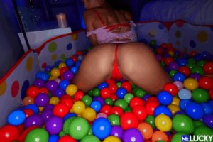 6 Beautiful babe showing off in ball pit